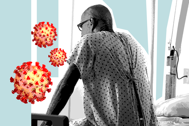 A patient sitting on a hospital bed with an overlay of the coronavirus.