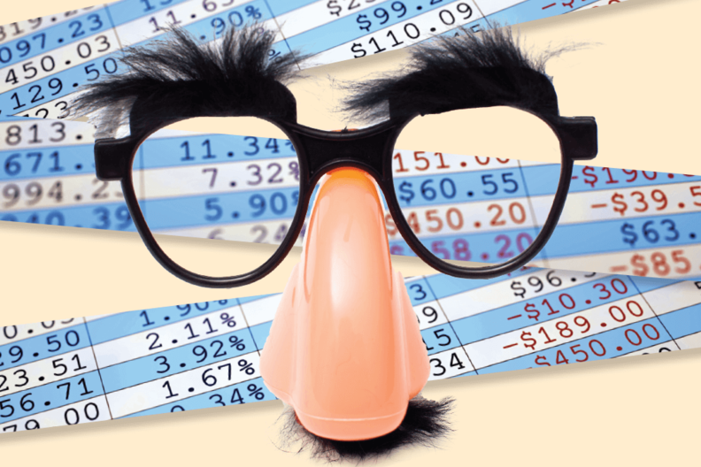 Financial papers with disguise glasses