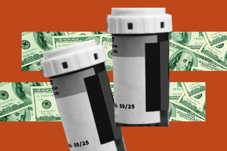 Pill bottles on a background of money