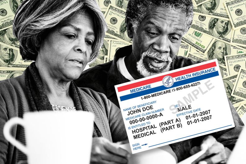An older couple with a Medicare card.