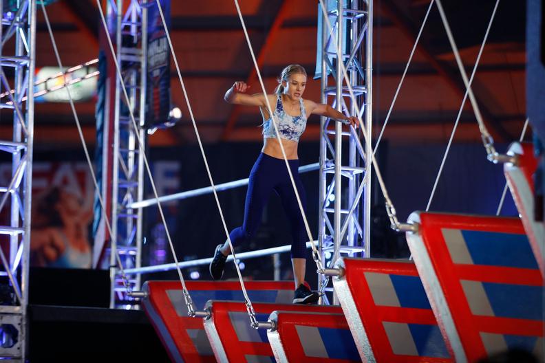 "ICU nurse Mady Howard competing on ""American Ninja Warrior."""