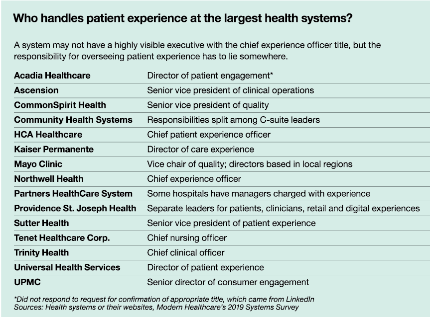 Who handles patient experience at the largest health systems?